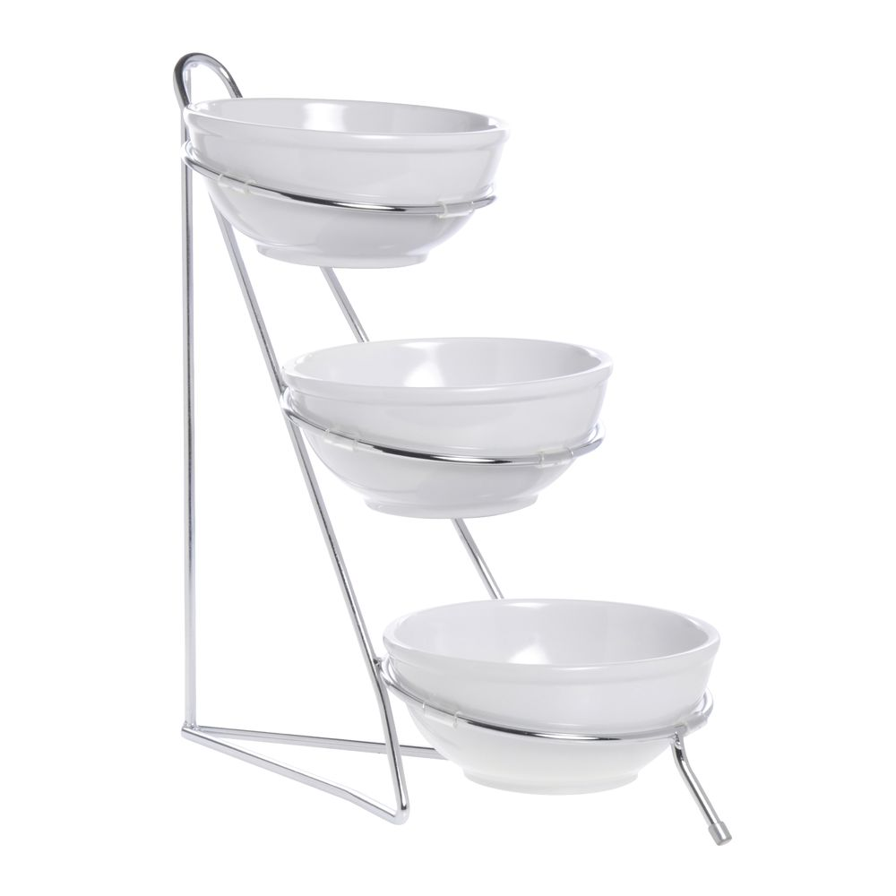 expressly hubert small 3 tier white bowl and silver wire display