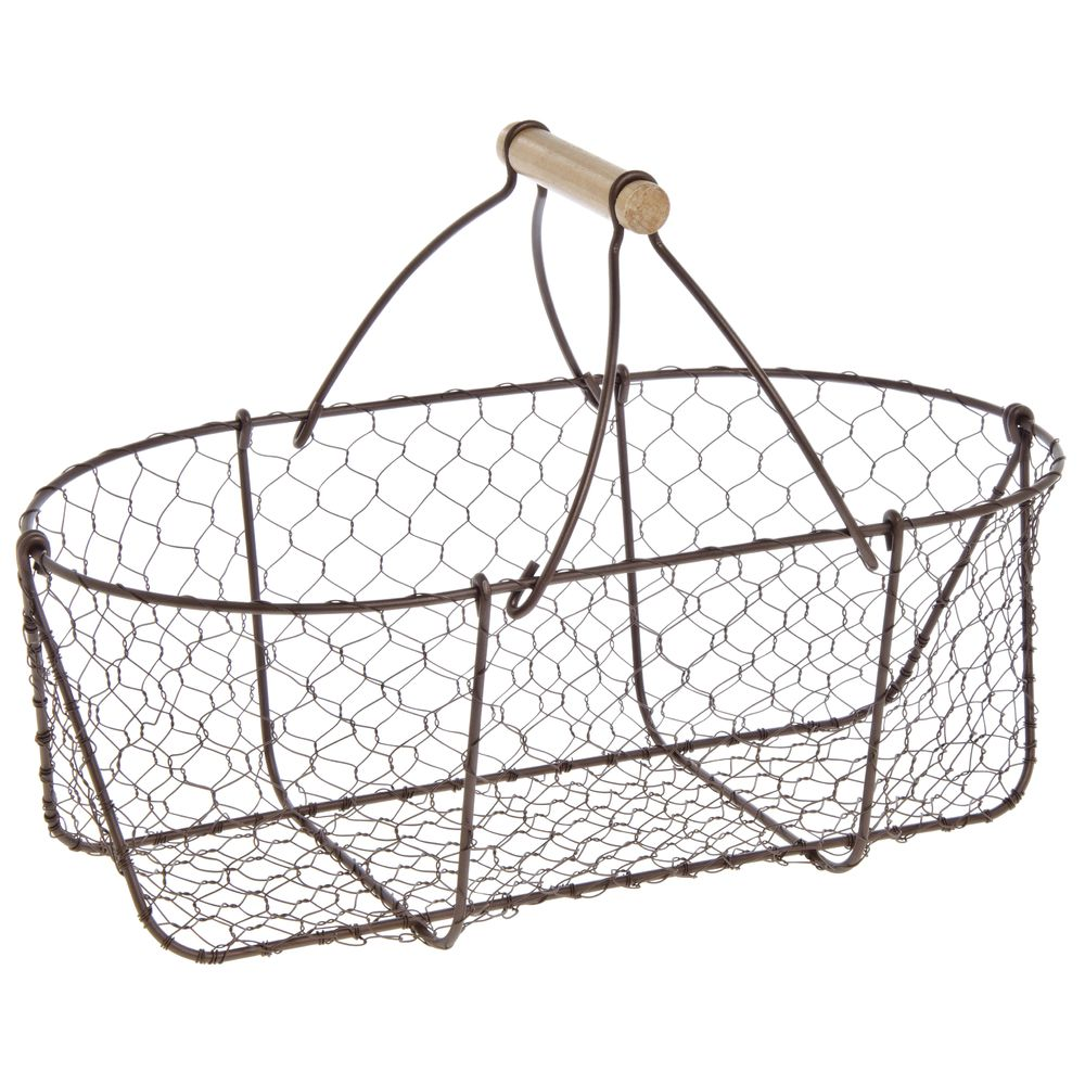 Expressly HUBERT® Oval Rustic Brown Chicken Wire Basket With Handle ...