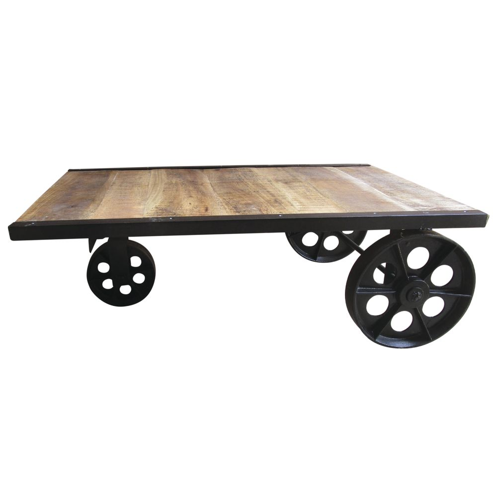Expressly HUBERT® Industrial Chic Black Iron Mobile Trolley Platform  Display - 39