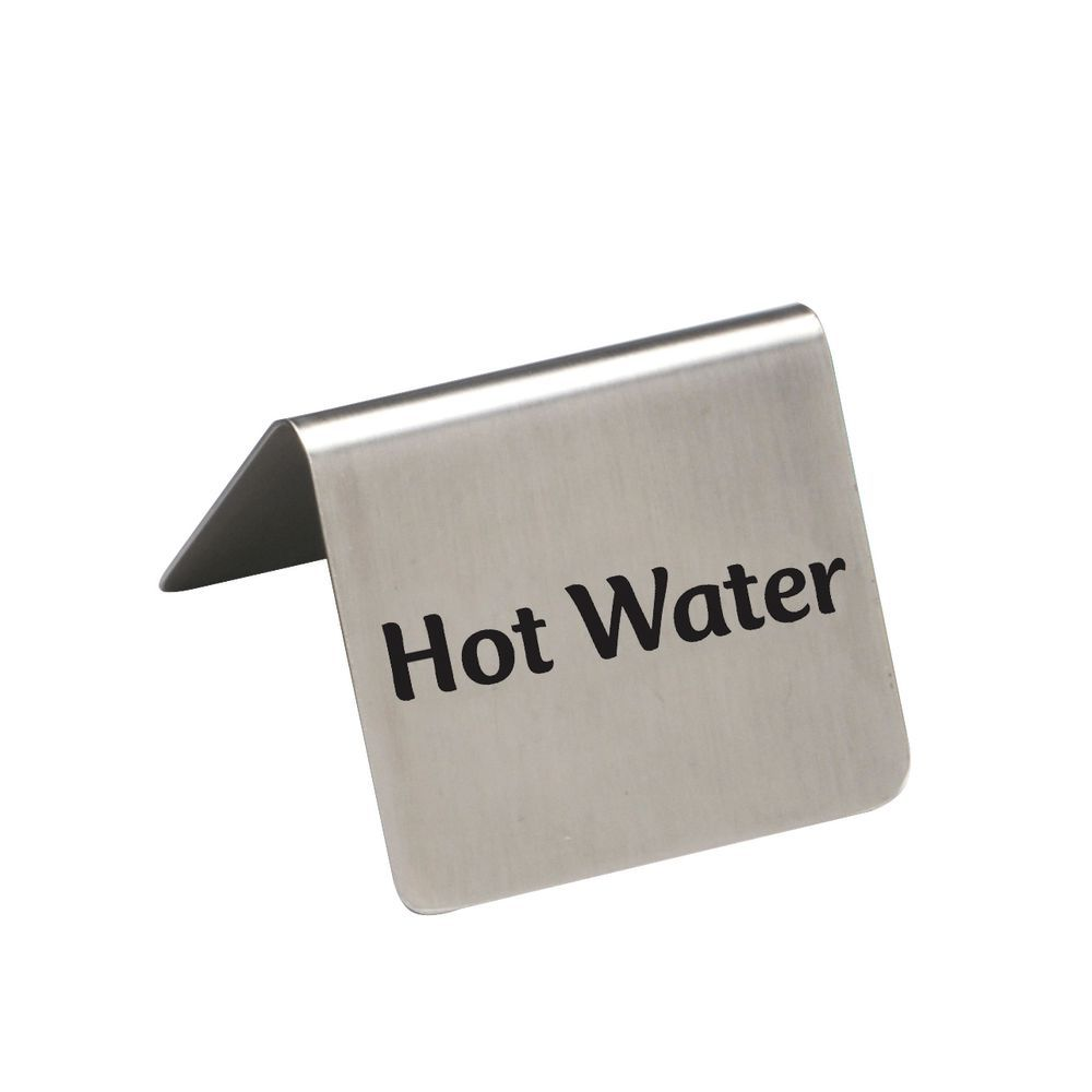 """Hubert Stainless Steel Hot Water Beverage Signs 2 1/2""""W x 2""""D x 2 3/16""""H"""