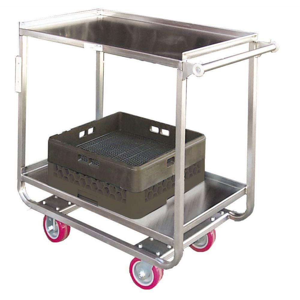 "HUBERT® Stainless Steel Utility Cart 2 Shelf 39""L x 23""W x 38""H"
