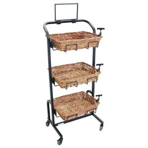 RACK, RECT.BLACK BSK TRAY 3-TIER, MOBILE