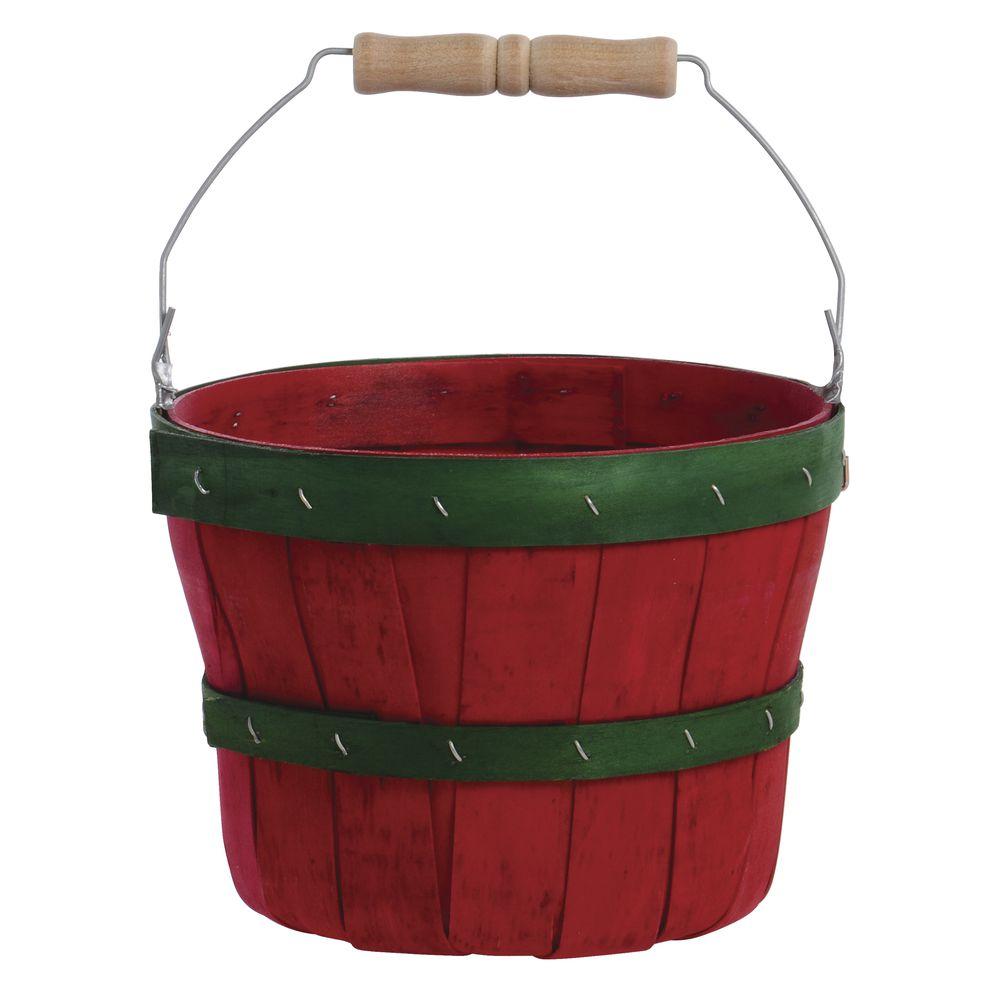 1/2 PECK NOVELTY BSKT-RED W/GREEN BANDS