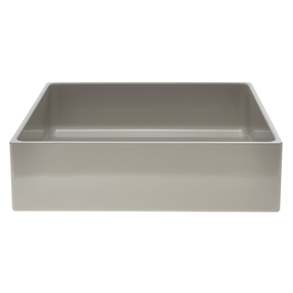 """Modular Straight Sided Melamine Crocks with Rounded Corners Rectangular Pan in Oatmeal 10""""L  x 12""""W x 3""""H"""