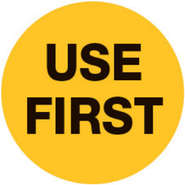 """LABEL, """"USE FIRST"""", YEL/BLK, 3/4""""DIA"""