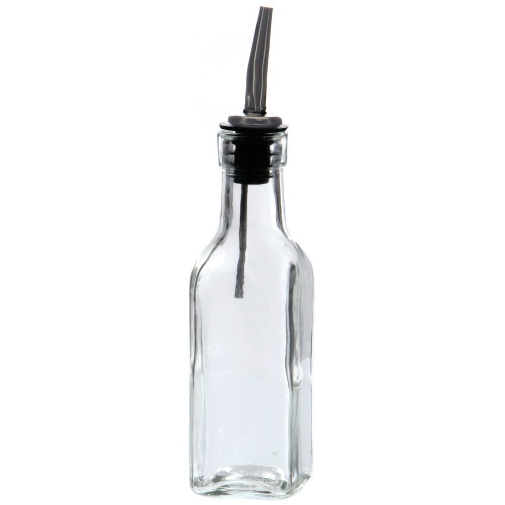Hubert Olive Oil Bottle With Stainless Steel Pourer 6 Oz Clear Glass