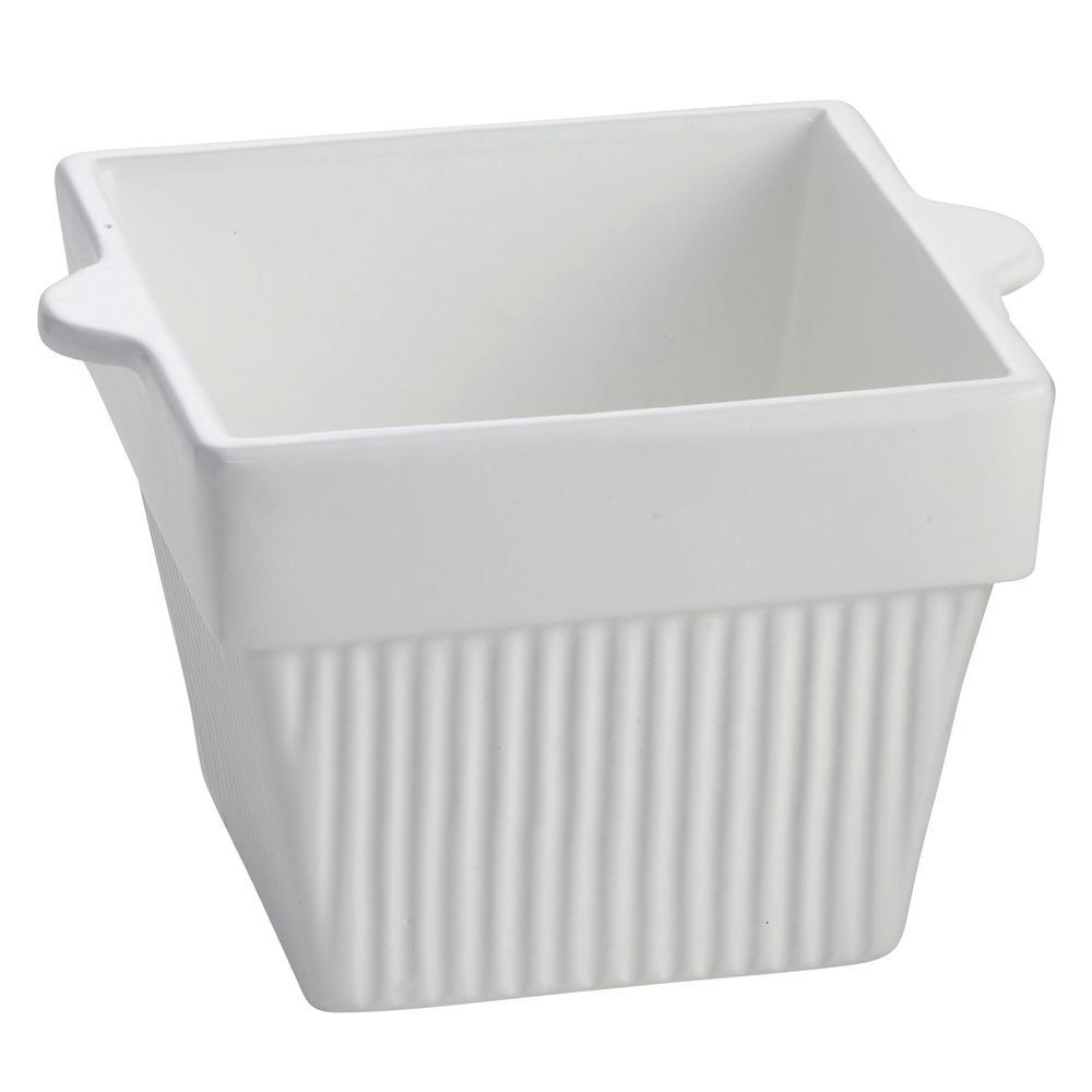 "BOWL, FLUTED, COATED ALUM, 6""SQ, WHITE, 4""D"