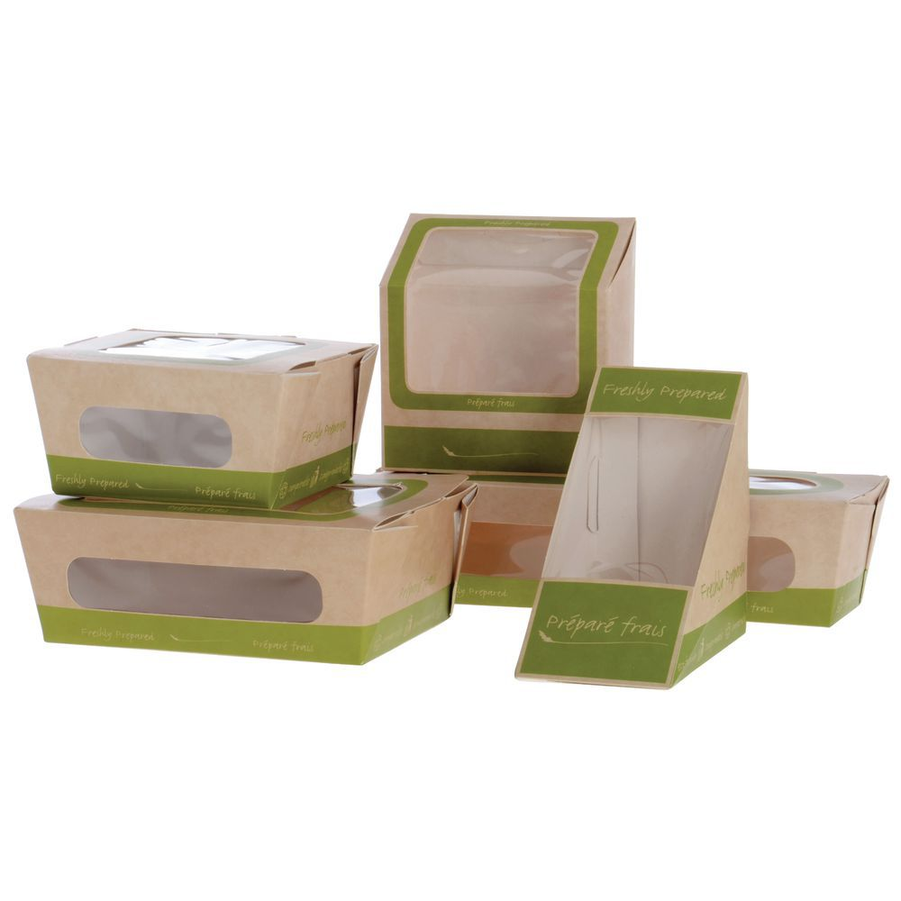 Kaiser Roll/Small Salad Green Paper Food Containers - 5L x 5W x 1 3/4H