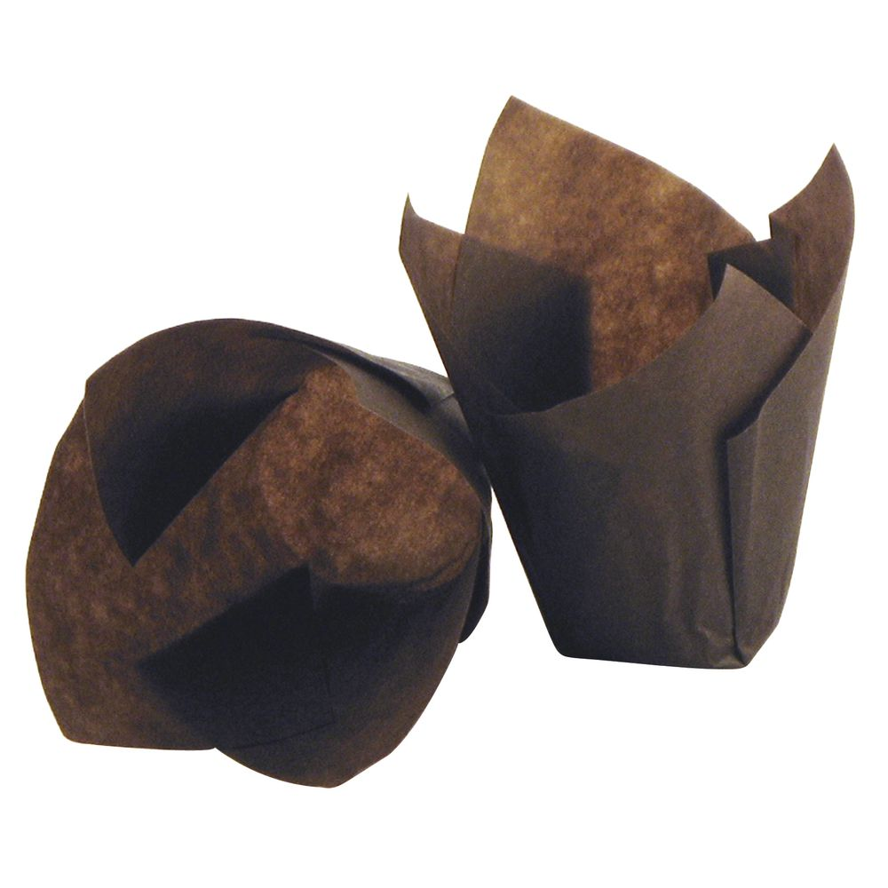 "TULIP BAKING INSERTS, 4""X4"", BROWN PAPER"
