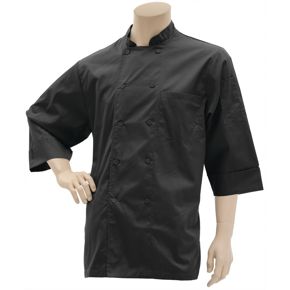 COAT, CHEF, 3/4 SLEEVE, BLACK, EXTRA LARGE