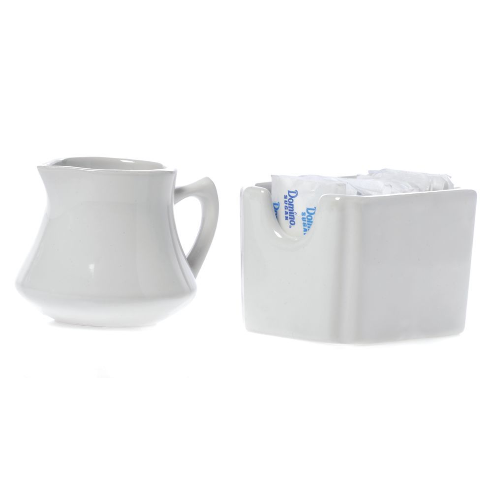"Hubert Cream Pitcher White Ceramic 3 1/2""L x 3""W x 2 7/8""H"