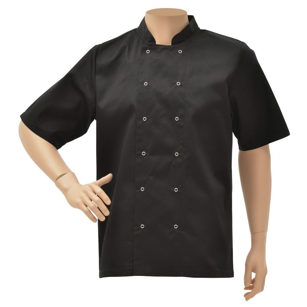 JACKET, CHEF, UNISEX, BLACK, LARGE, SHORT