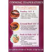 POSTER, FIRST AID, COOKING TEMPS., 11 X 17