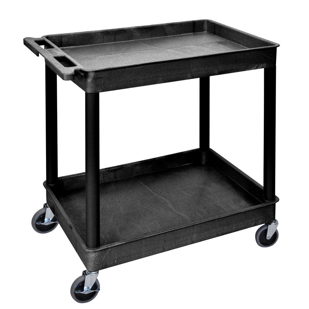 Luxor Black Plastic 2-Shelf Tub Cart