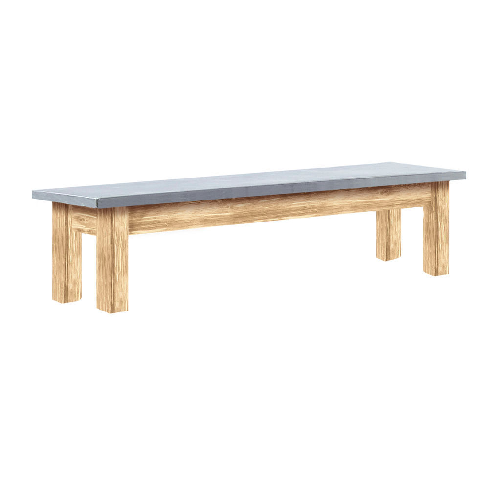 Expressly HUBERT Wooden Light Oak Nesting Table With Galvanized Top   38L X  10W X 10 1/2H