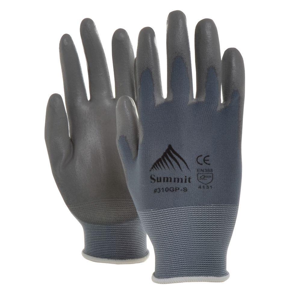 GripTech Work Gloves Seamless 15 Gauge Light Palm /Finger Coating Dozen pr Per Pack Grey Small