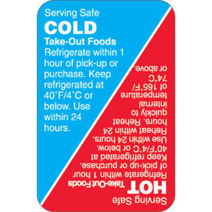 LBL, HACCP, HOT/COLD 2.5X1.625 RED+BLU 500