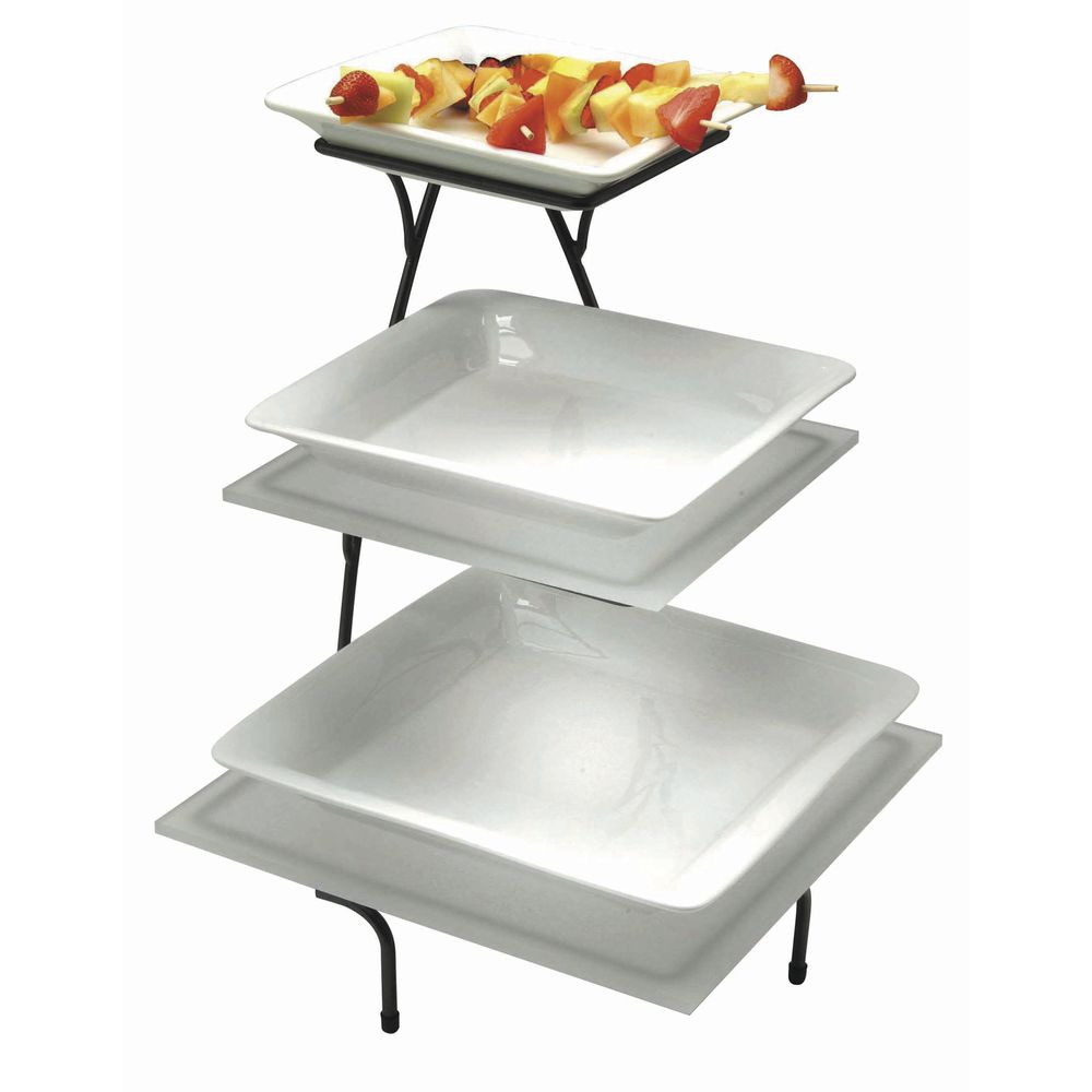 Expressly Hubert Arctistic Collection 3 Tier Flint Metal Serving Stand 15 L X 15 W X 24 1 2 H