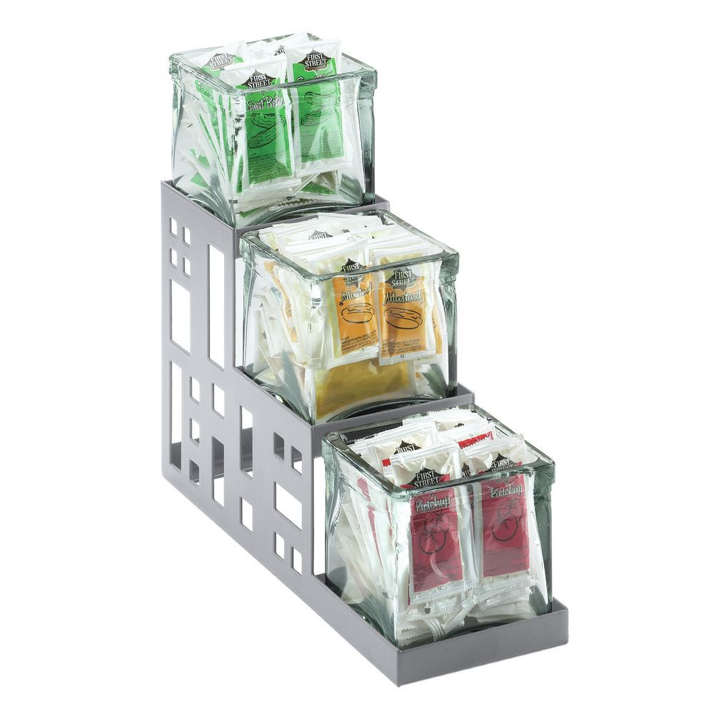 HOLDER, CONDIMENT, SS, 3-STEP SQ, W/JARS, SLV