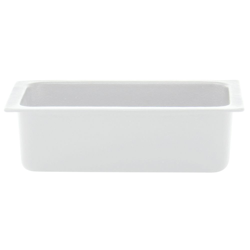 "These buffet pans can safely display cold food product.  The white 12 1/2"" x 6 3/4"" x 4"" displayware are made of heavy duty materials.  These buffet pans are constructed of sand-cast aluminum covered in a patent pending resin coating.  The durable trays can be placed in a freezer or refrigerator prior to service to maintain consistent temperature.  The serving ware has a 3 year warranty against lifting and peeling when used for cold purposes."