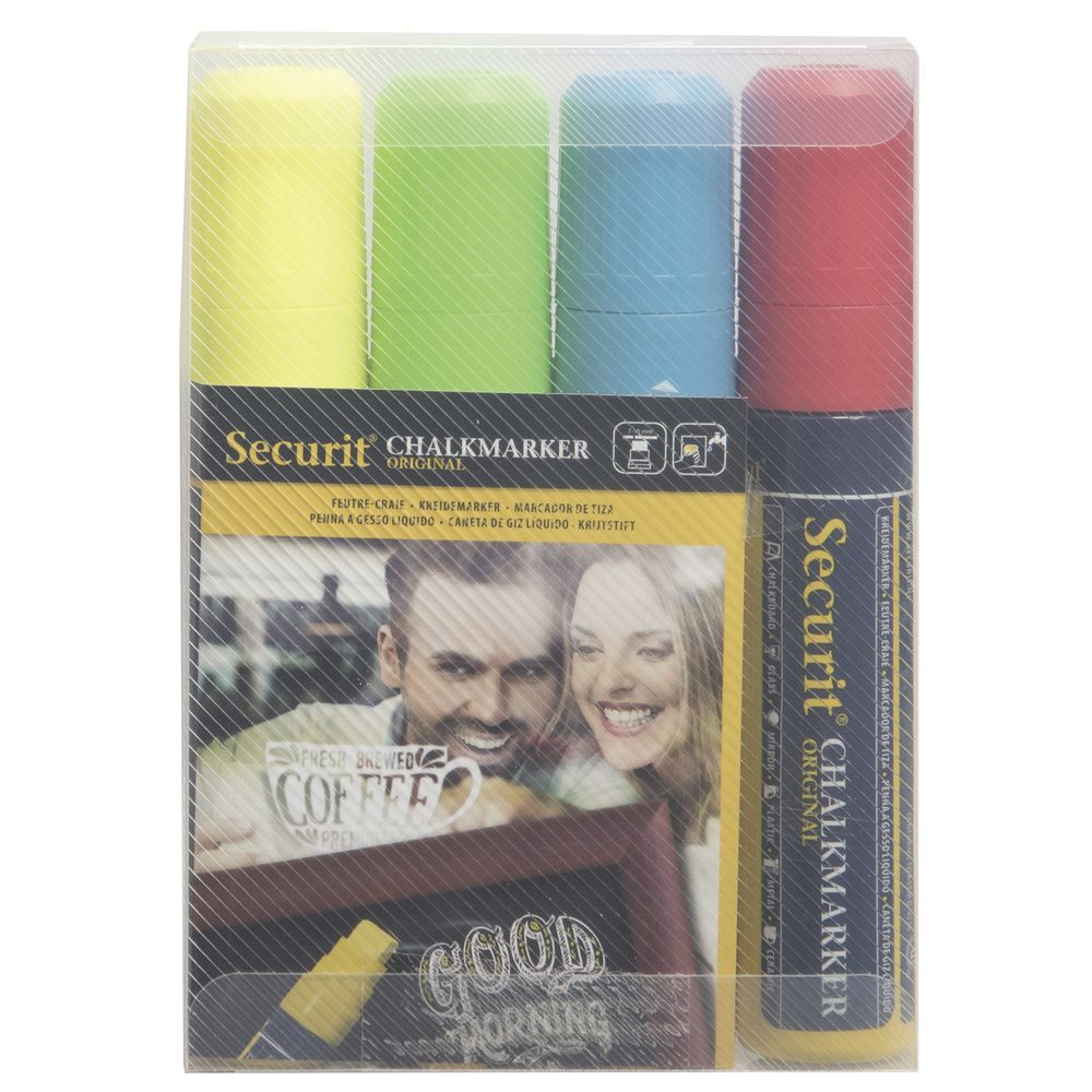 Securit Neon Colors Broad Point Chalk Markers Set Of 4