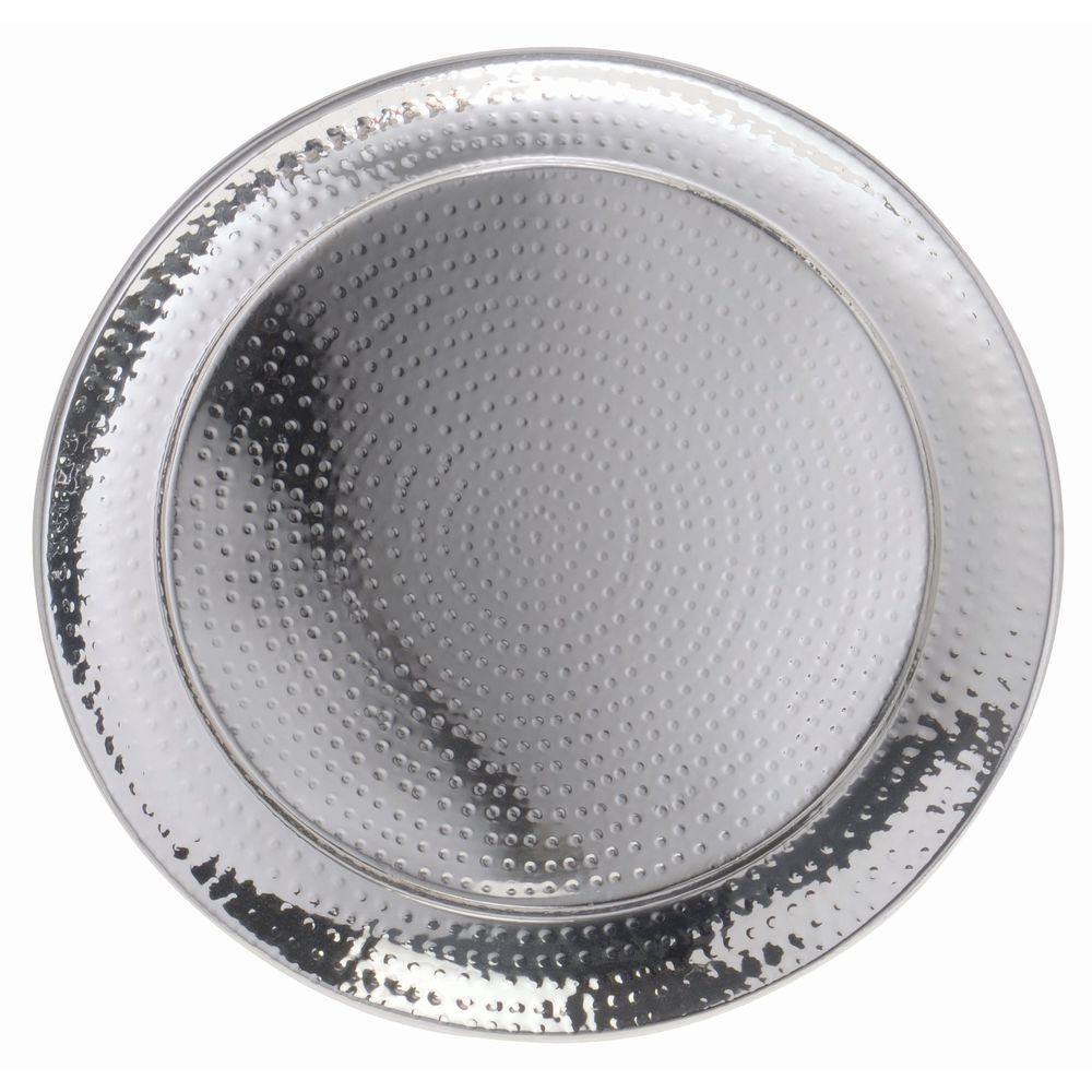 """American Metalcraft Stainless Steel Round Hammered Tray 18""""D"""