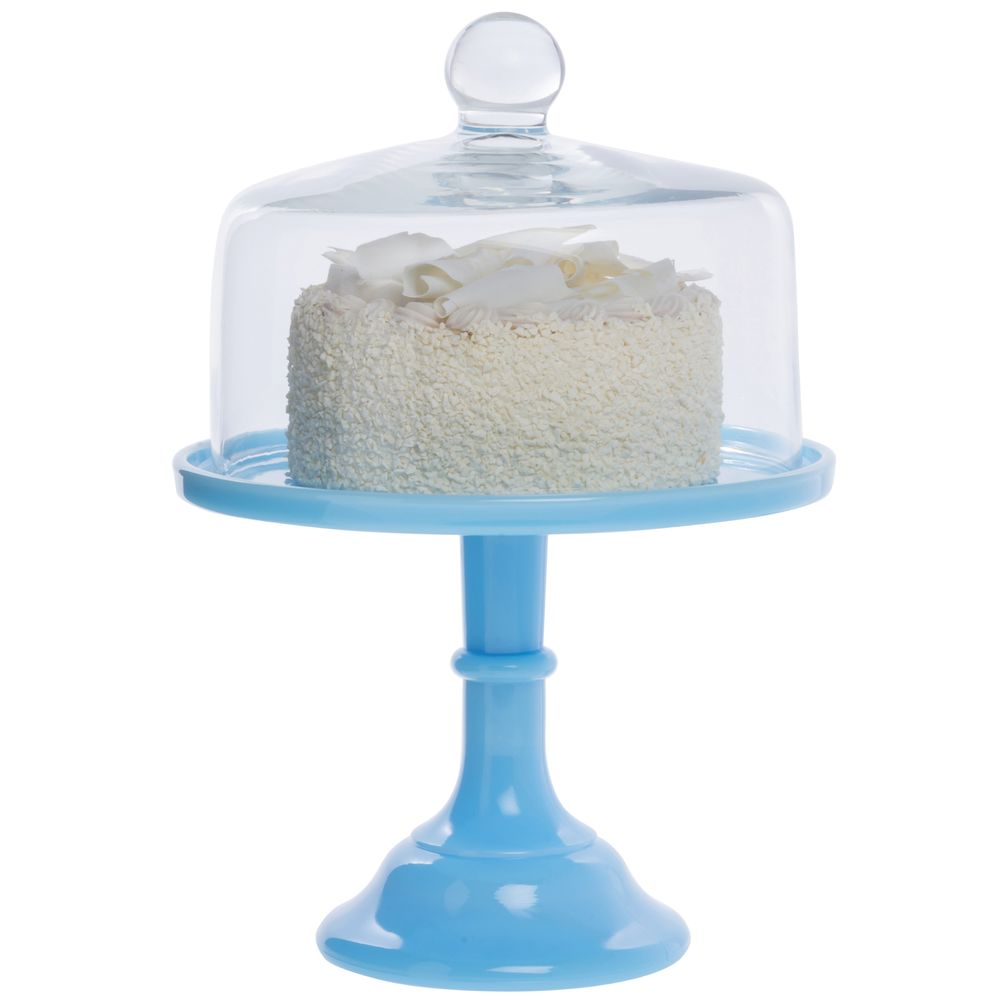 CAKE STAND, GLASS, 9DIAX7, ROBIN EGG BLUE