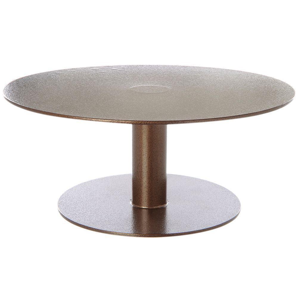 """12"""" Round Pedestal 3""""H Espresso Powder Coat Metal"""