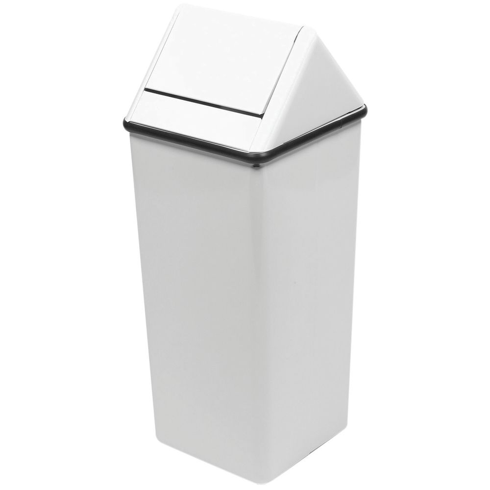 Witt 21 gal White Steel Swing-Top Trash Receptacle - 14\