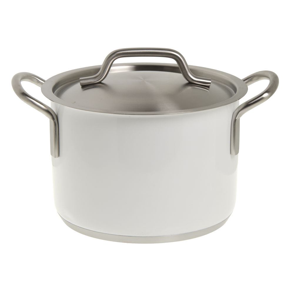 SAUCEPOT, SS, SINGLE PLY W/LID, WHITE, 4.4L