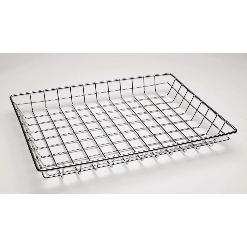 "BASKET, CHROME, OPEN GRID, 18X13X2""H, HUBERT"