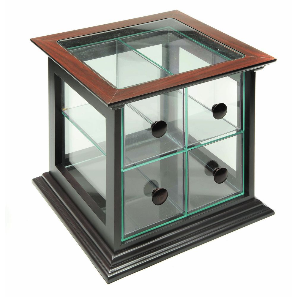 4-Drawer Countertop Display Case with Mahogany Finished Wood Trim
