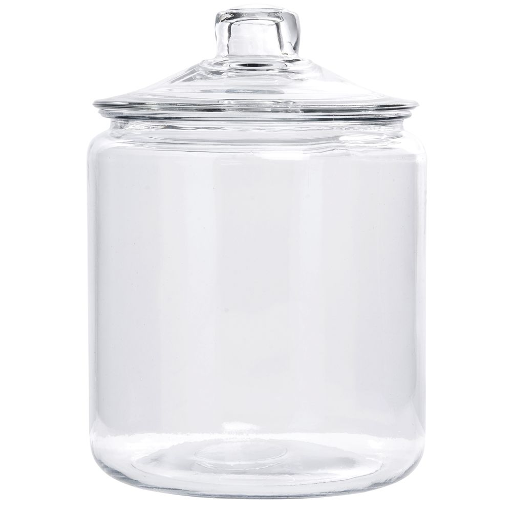 Anchor Hocking 1 Gal Round Glass Cookie Jar 7 3 8 Dia X 10 H