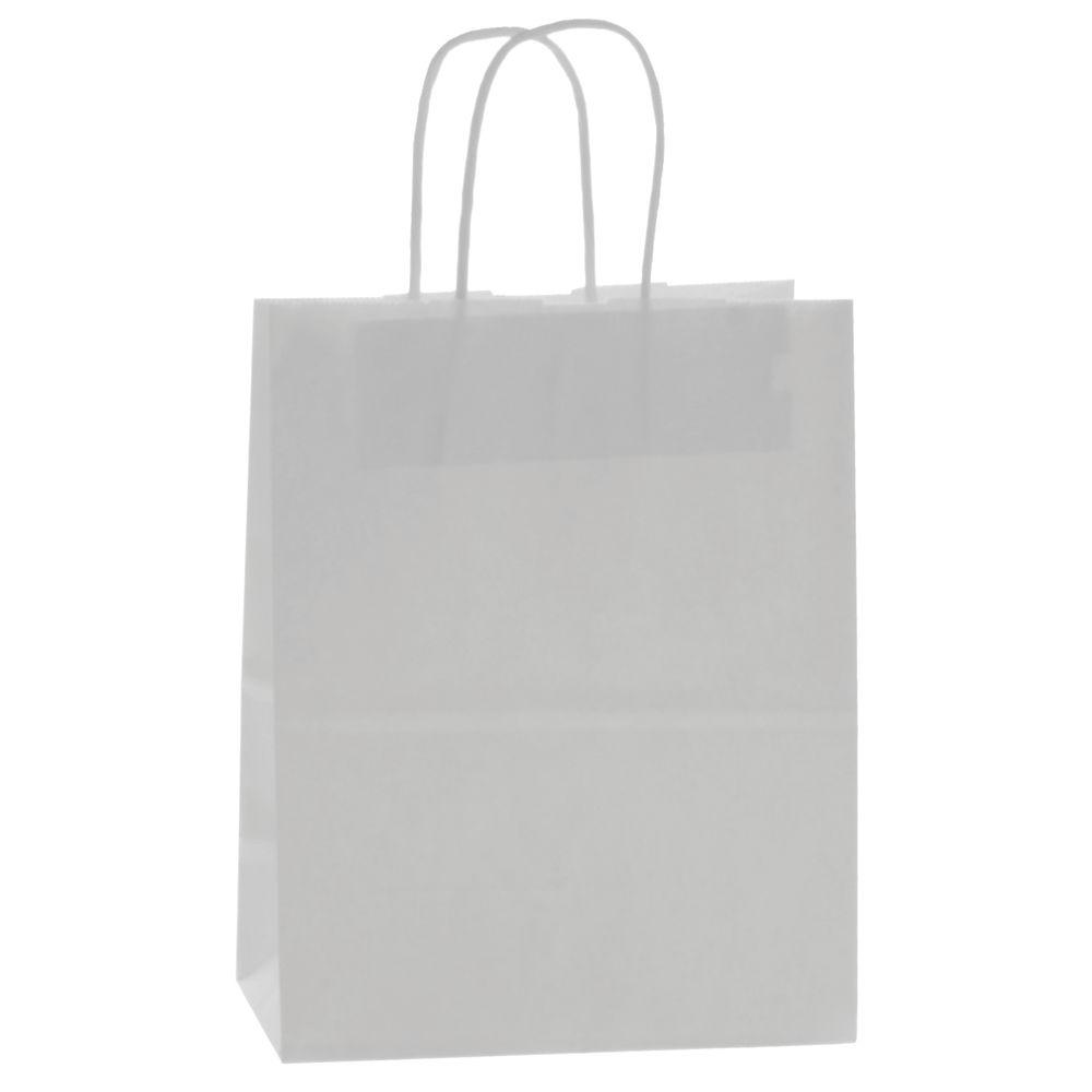 White Kraft Paper Shopping Bag With Handles 8l X 4 34d X 10 12h