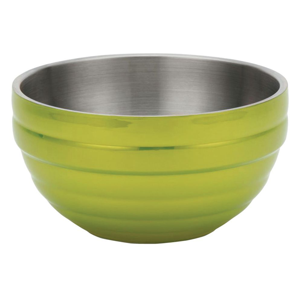 """Vollrath Double Wall Serving Bowl 13 3/4""""Dia x 6 7/8""""H Painted Stainless Steel Lemon Lime"""