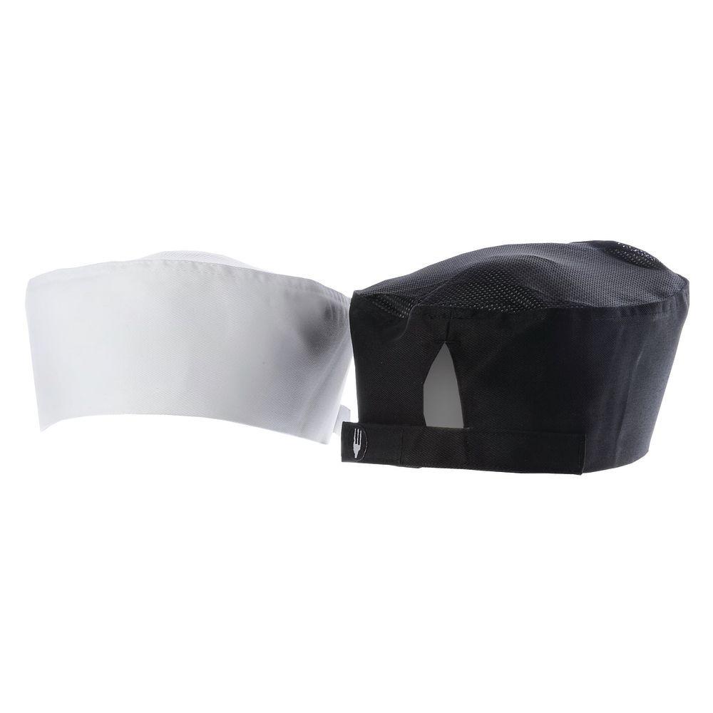 HAT, CHEF FLAT TOP, COOL VENT, BLACK