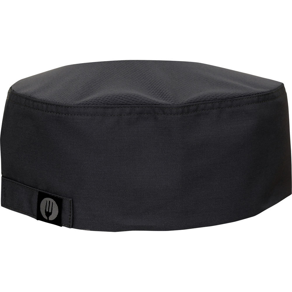 Chef Works Cool Vent™ Black Poly Cotton Flat Top Chef Hat 5eea4e3125b