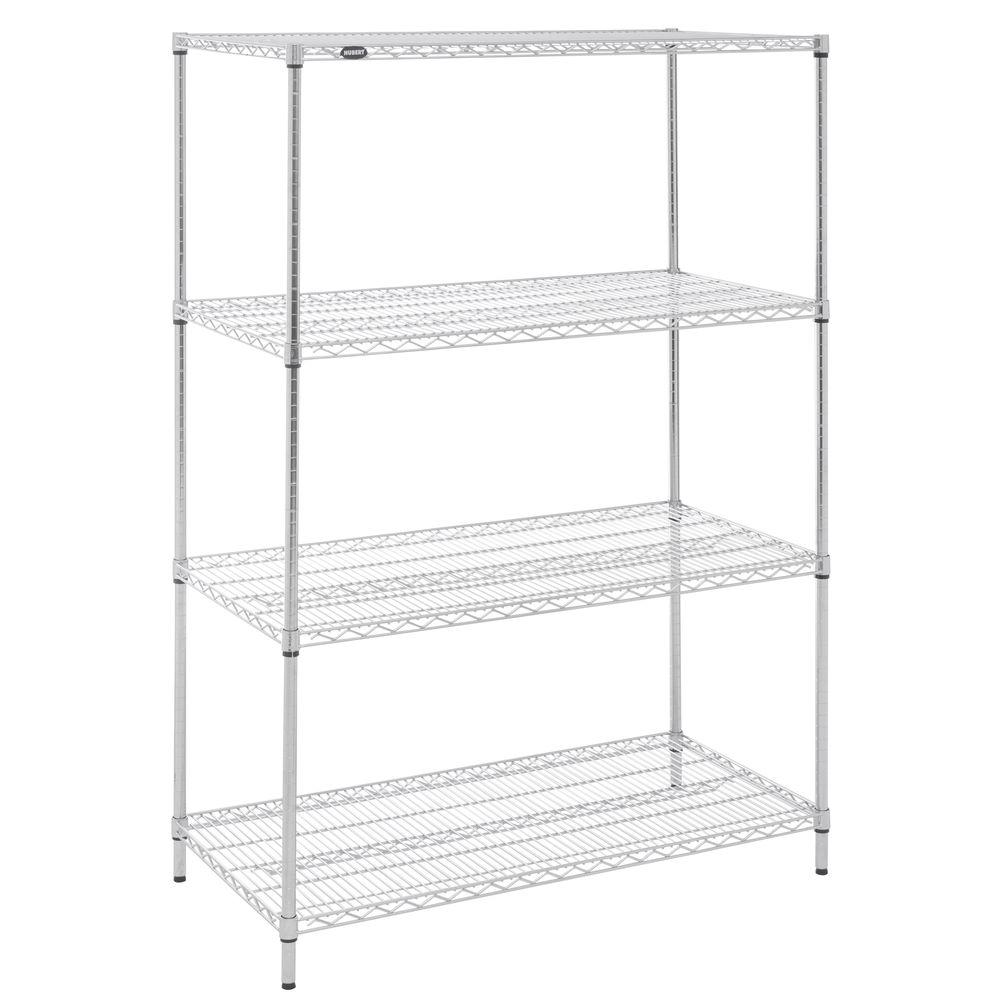HUBERT® 4-Shelf Chrome Plated Wire Shelving - 48\