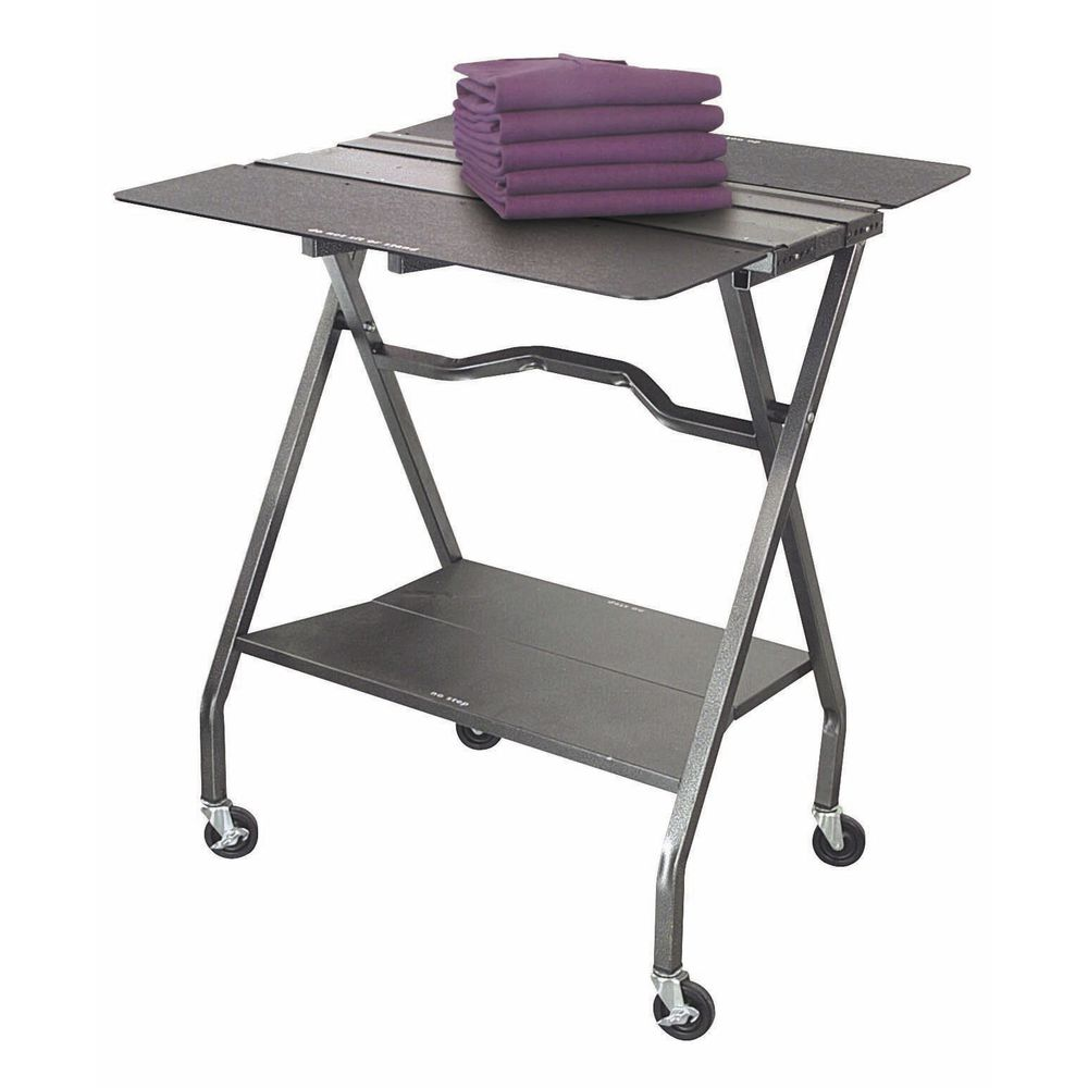 """Portable Folding Demo Table Flint Wire With Rubberwood Top 34 3//4 L x 20/"""" D x"""