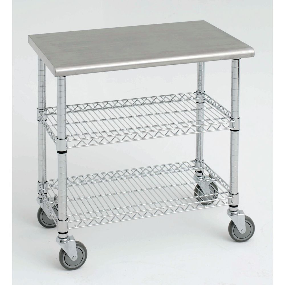 Expressly Hubert Kitchen Cart With Solid Stainless Steel Top 49 L X 24 D X 39 1 2 H