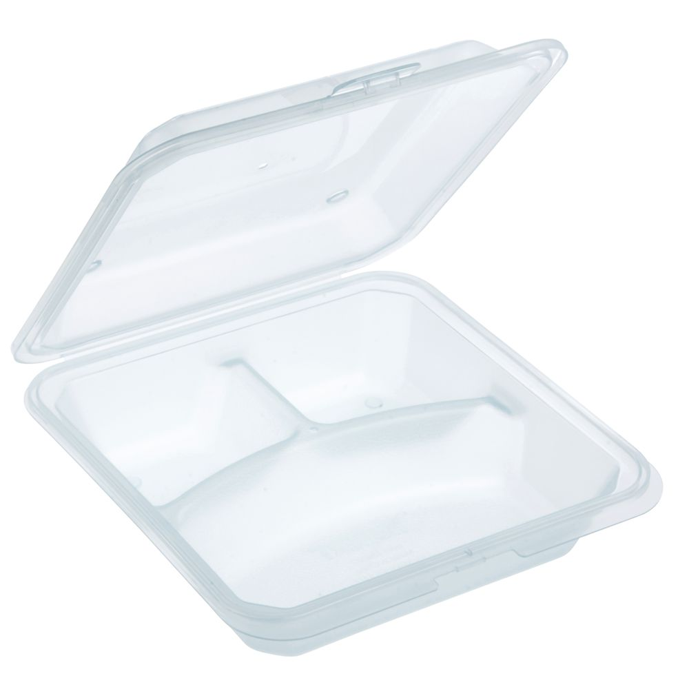 Reusable Takeout Container with 3-Compartments by HUBERT® - Green  Translucent Plastic