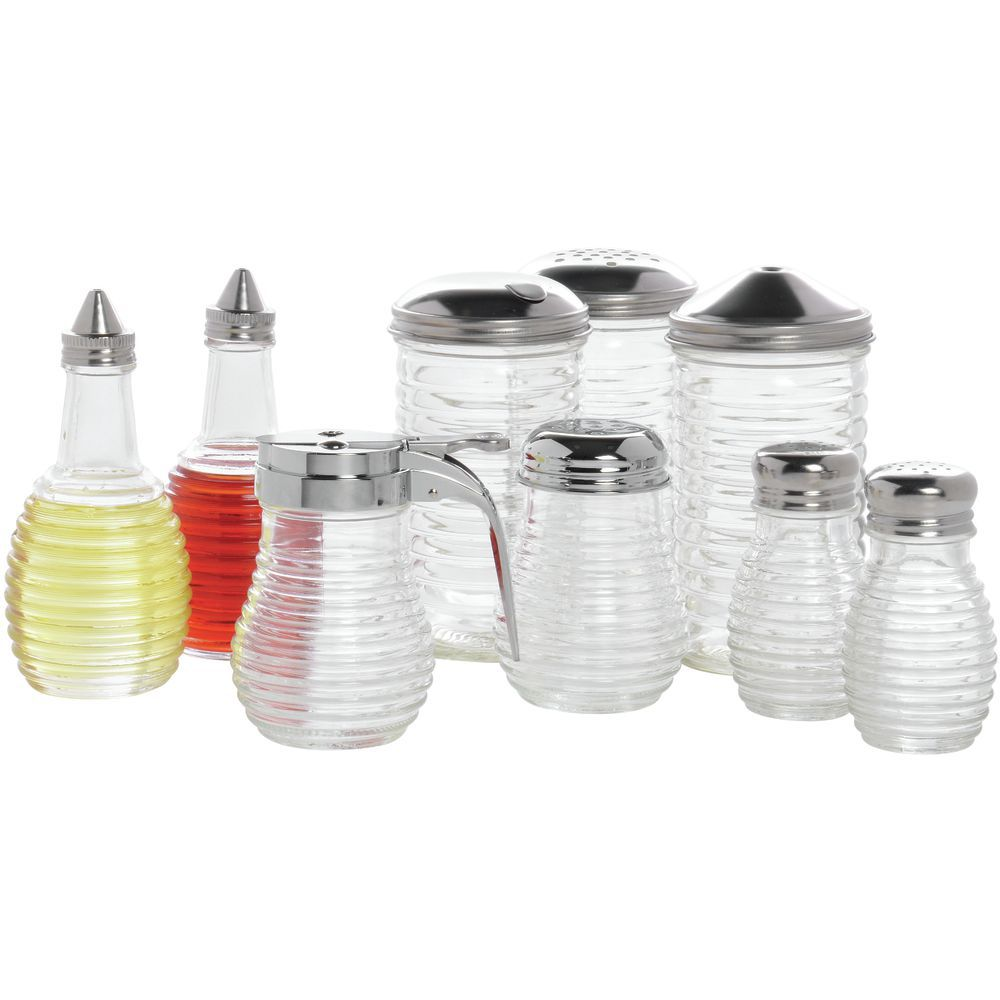Tablecraft Beehive Oil + Vinegar Dispenser  6 Oz. Clear Glass With Stainless Steel Top