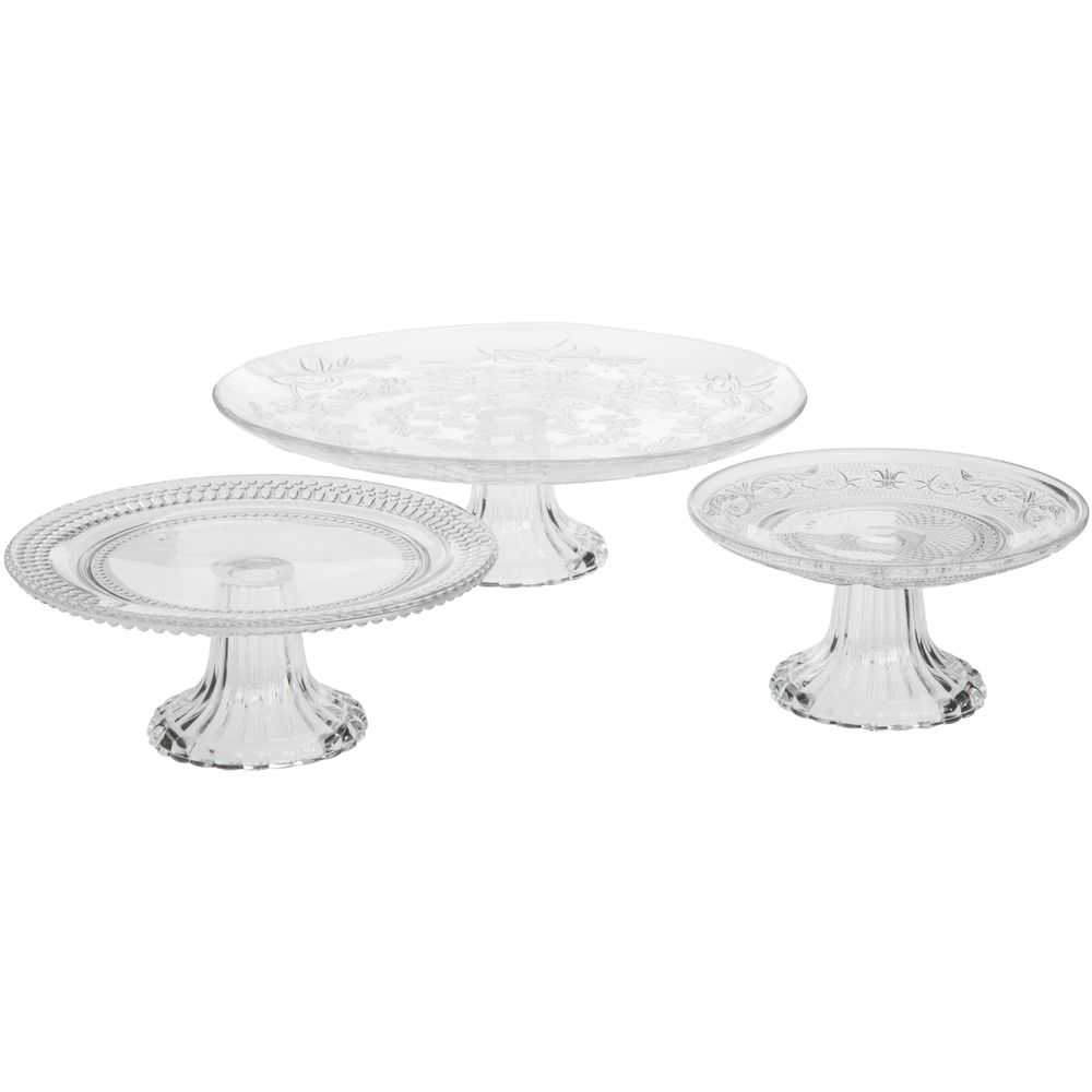 Vintage Embossed Glass Cake Stands 3 Piece Set
