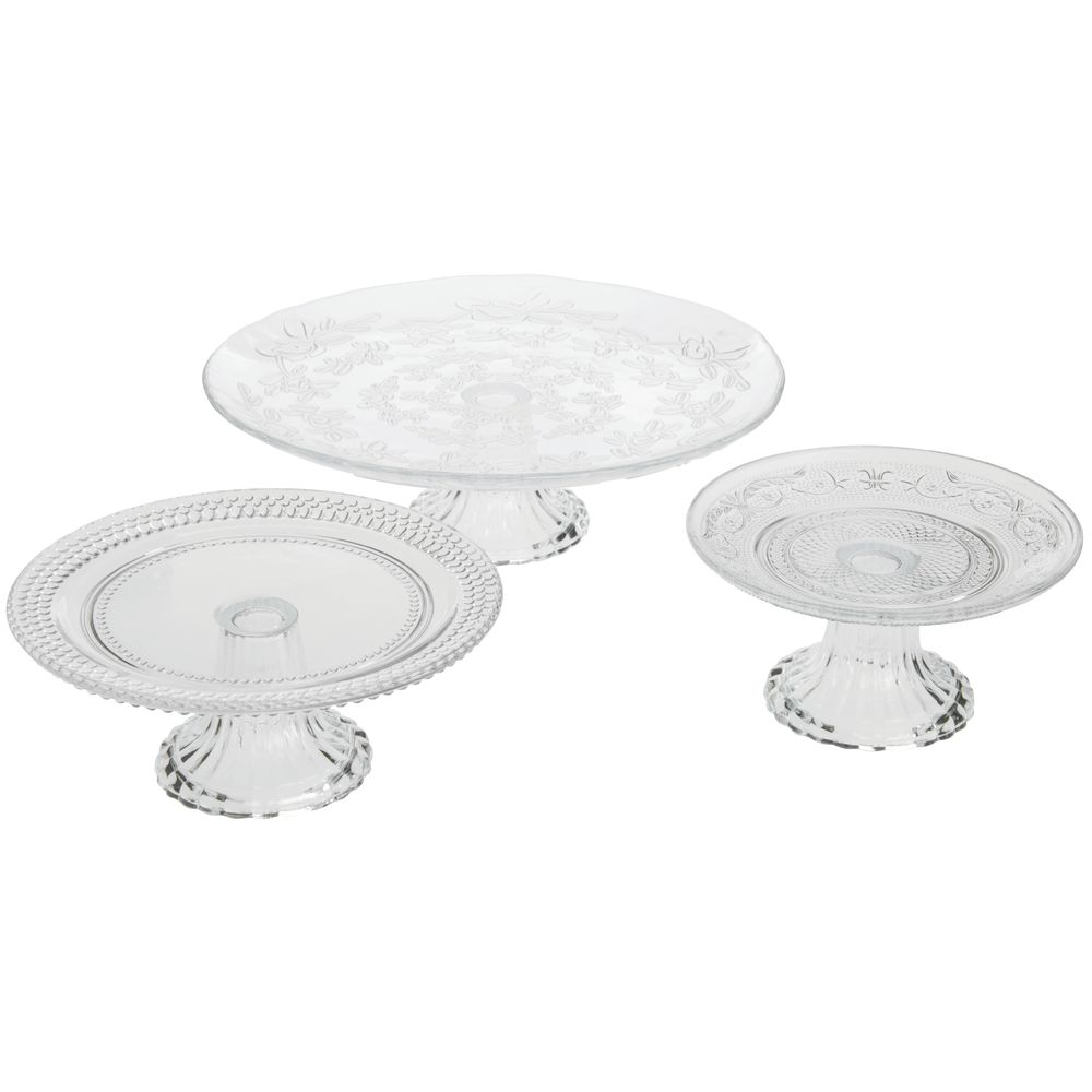 CAKE STAND, VINTAGE, EMBOSSED GLASS, 3/ST