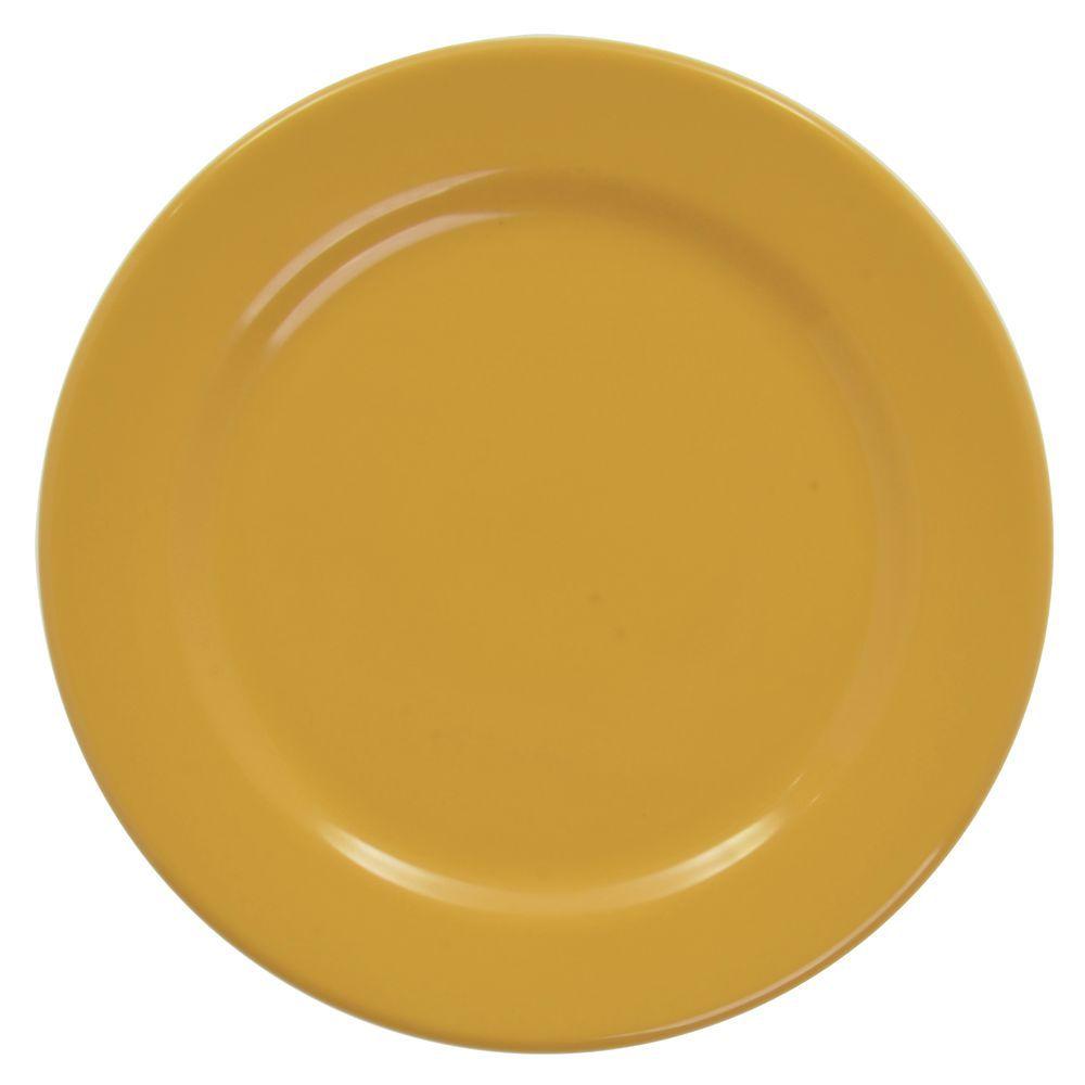 "Elite Rio Round Rim Plate 9"" Dia Yellow Melamine"