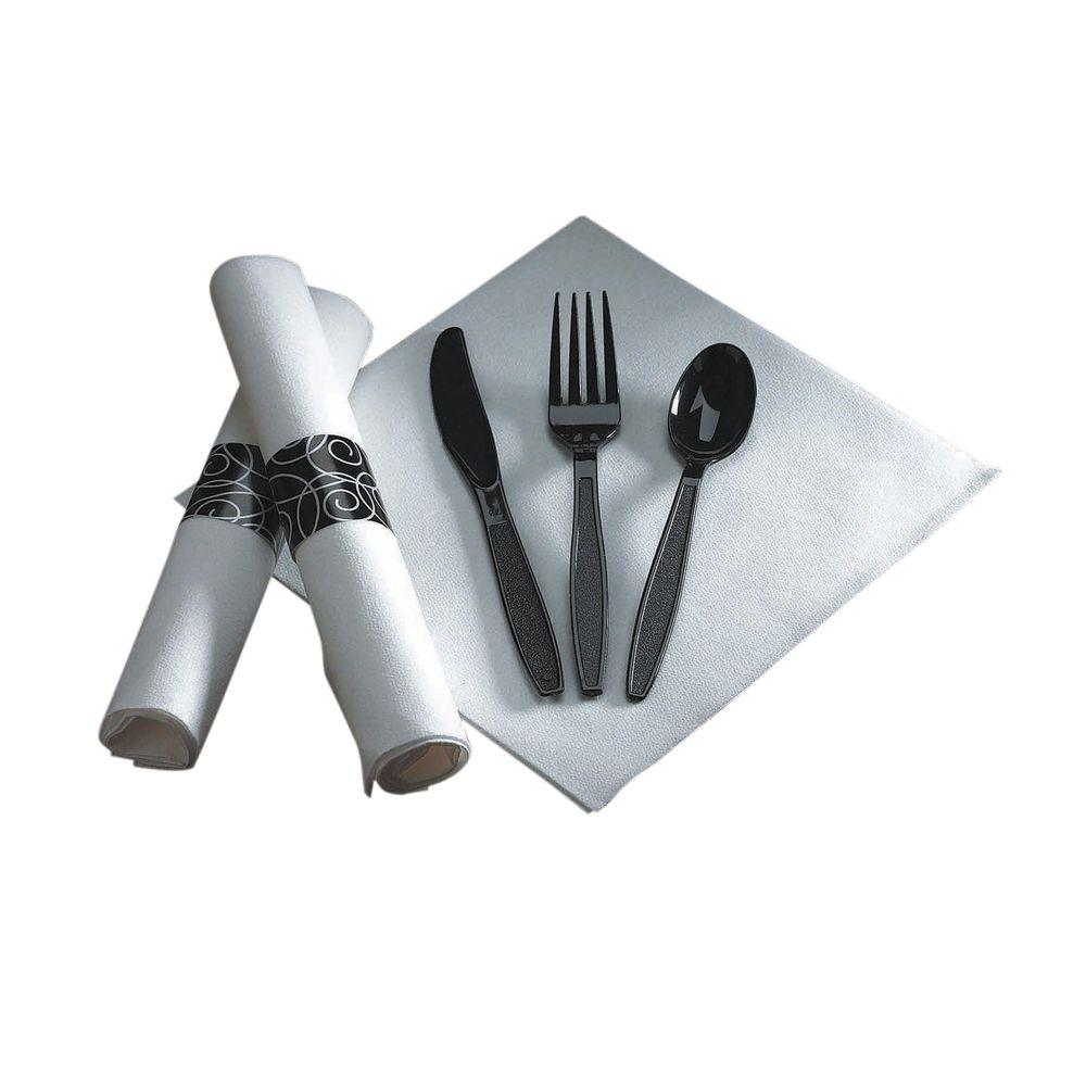 caterwrap black plastic silverware and white 17 sq napkin with black