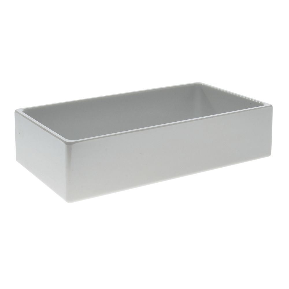 "Modular Straight Sided Melamine Crocks with Rounded Corners Rectangular Pan in White 6""L  x 12""W x 3""H"