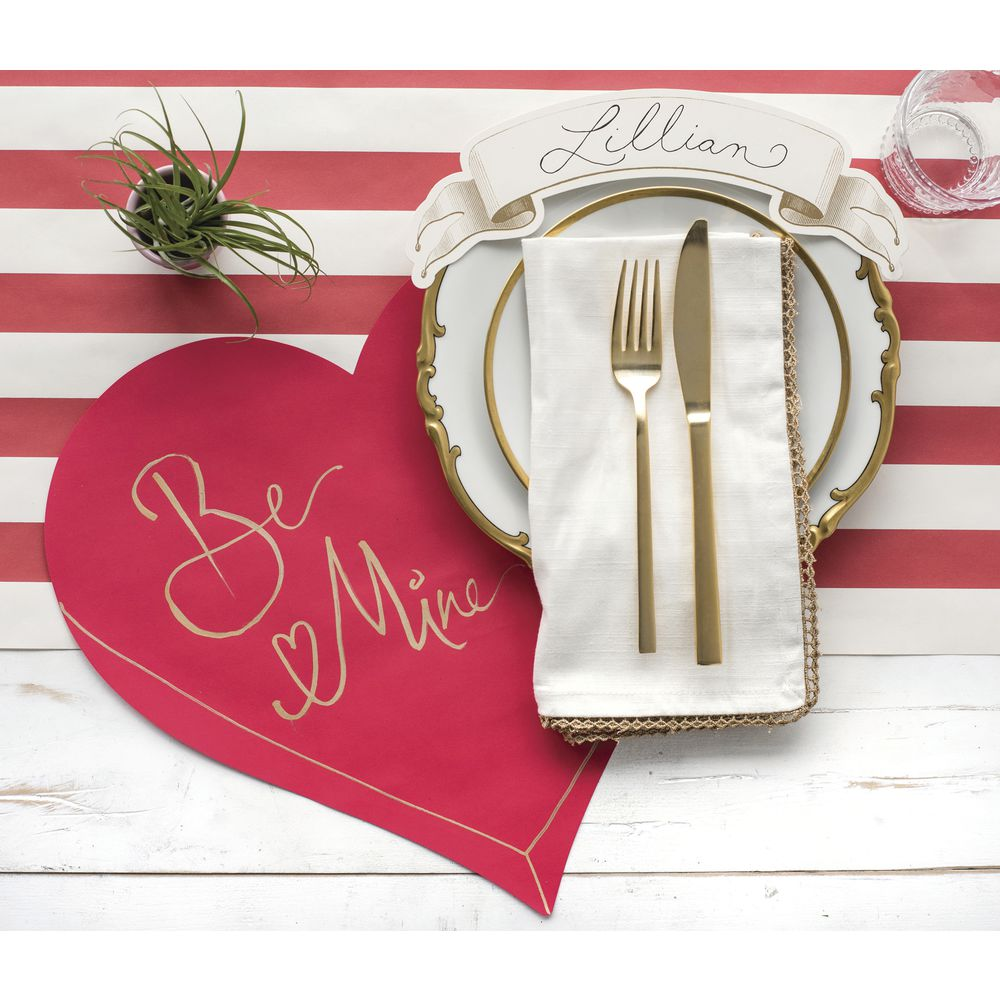 Hester And Cook Disposable Die Cut Red Heart Paper Placemat 15 L X 14 W