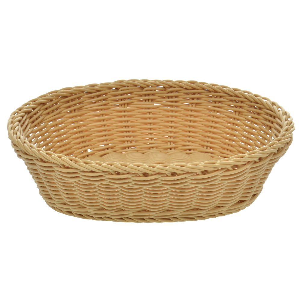 Woven Oval Light Beige Polypropylene Bread Basket 9 3 4 L X 7 1 2 W X 2 3 4 H