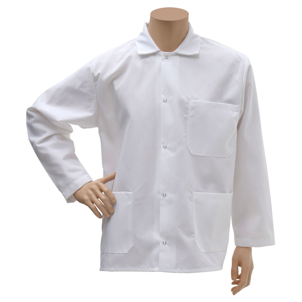 FROCK, BUTCHER, SHORT, WHITE, EXTRA LARGE